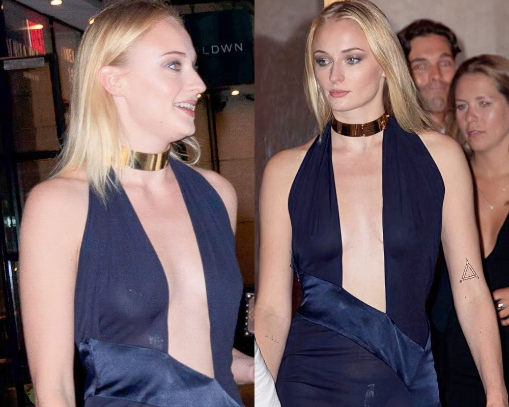 Sophie Turner's Pierced Nipples In A See Thru Dress